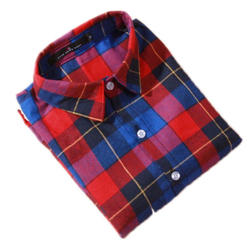 Grosshandel Bluse Shirt Frauen Plaid Shirt 100 Baumwolle Langarm