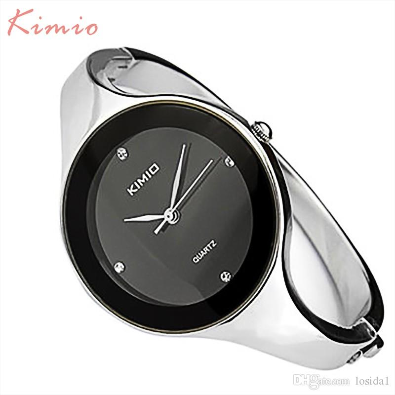 2018 Top Fashion New Kimio Ladies Watches Stainless Steel Crystal Watch Elegant Round Dial Diamond For Women Montre Femme Dropshipping Clock