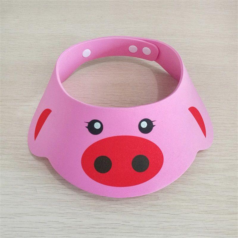 Baby Shower Cap Shampoo Thickening Children Bathe Cartoon Adjustable Bear Pig Frog Printing Caps Snap Fastener Wholesale 1 7zm V