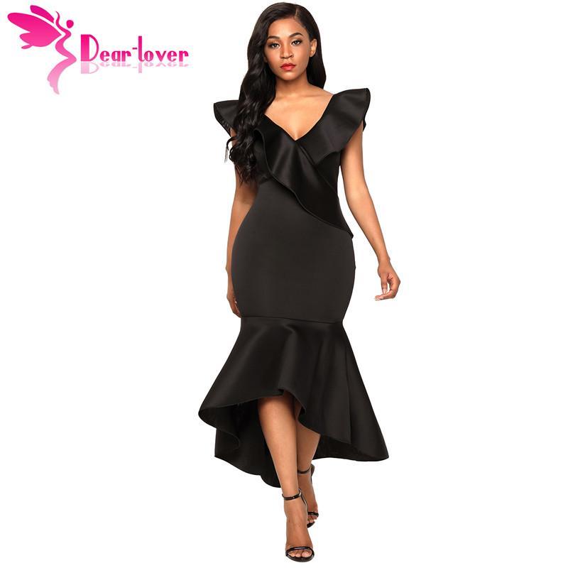 90d27d663d102 Dear Lover Summer Mermaid 2018 Elegant Sexy Women Black Ruffled V-neck Maxi  Party Dress Red vestido de festa robe longue LC61897