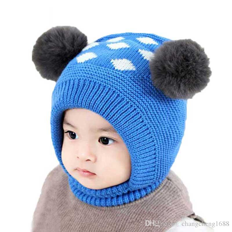 67620d62171 2019 Child Baby Hat Winter Boys Warm Earflap Beanies Hats With Pompom Girls  Diamond Jacquard Ear Flaps Cap Knit Ribbed Skullies MZ7098 From  Changcheng1688
