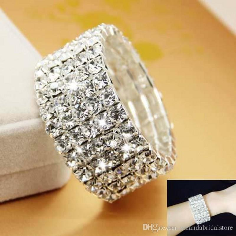 Amandabridal Five Rows Cheap Silver Rhinestone Stretch Bangle Prom Evening Wedding Party Bridal Jewelry Bracelet Accessories