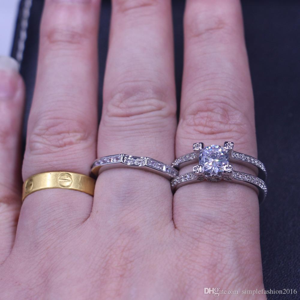 Joyería de la marca anillos de la boda para hombres de las mujeres Diamonique 5A Zircon Cz 925 plata esterlina Birthstone anillo femenino conjunto nupcial