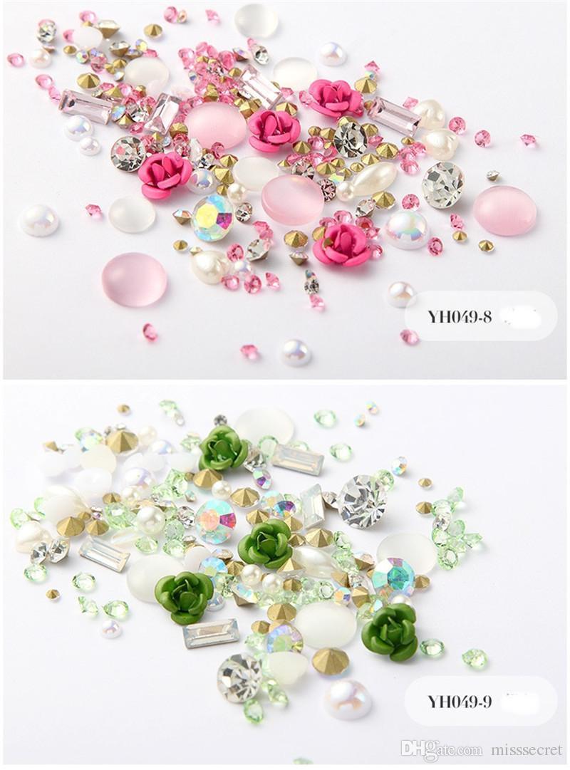 جديد 3D روز زهرة مسمار الفن زينة DIY تصميم يلمع الماس بيرل اللوازم فن الأظافر 12 الألوان