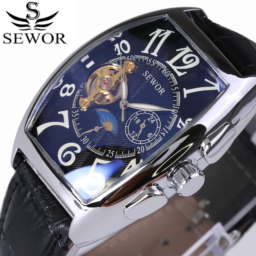 bb2168e3783 Compre SEWOR Top Marca De Luxo Retangular Tourbillon Homens Relógios  Relógio Mecânico Automático De Moda Relógio Do Vintage Relogio Masculino  D18100706 De ...
