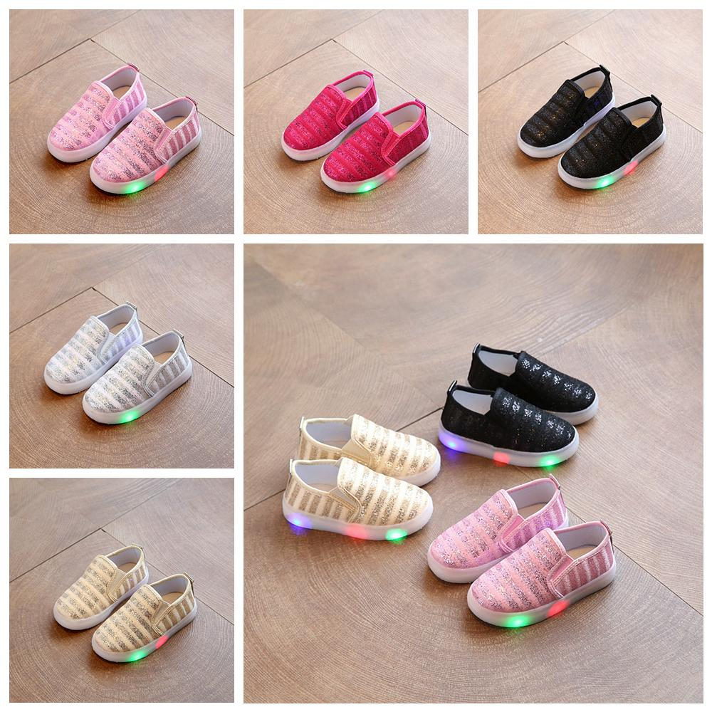 5 Colors Children LED Glitter Sneakers Sequins Flats Shoes With Light Kids Lighted Shoes Toddler Boy Flashing Girls Running Shoes AAA449