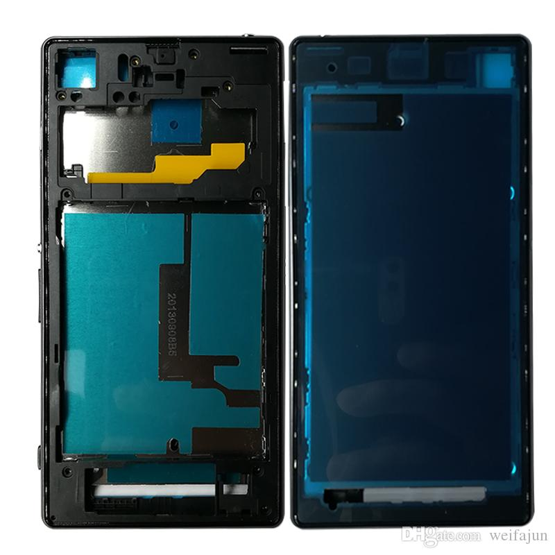 wholesale For Sony Xperia Z1 L39H C6902 C6903 Full Housing Front Chassis + Middle Frame Back Battery Case + Port Cover + Sticker