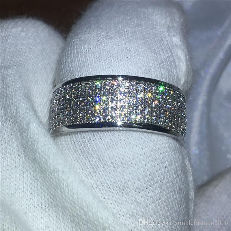 Luxury Pave setting 5A zircon crystal ring White Gold Filled Engagement wedding band rings for women men Bijoux