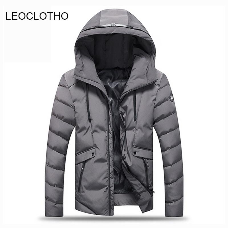 38787c557 2019 LEOCLOTHO Parka Men Thick Hooded Warm Coats Solid Color Slim Fit  Casual Winter Jackets Men Parkas Hommer From Fangfen, $98.41 | DHgate.Com