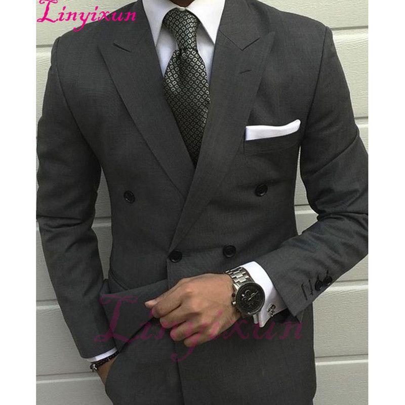 Acquista Linyixun 2017 Ultimo Kingsman Smoking Grigio Giacche Uomo Abito Da  Sposa Prom Tuxedo Slim Fit 2 Pezzi Custom Groom Mens Abiti Terno A  166.36  Dal ... b90170a8770