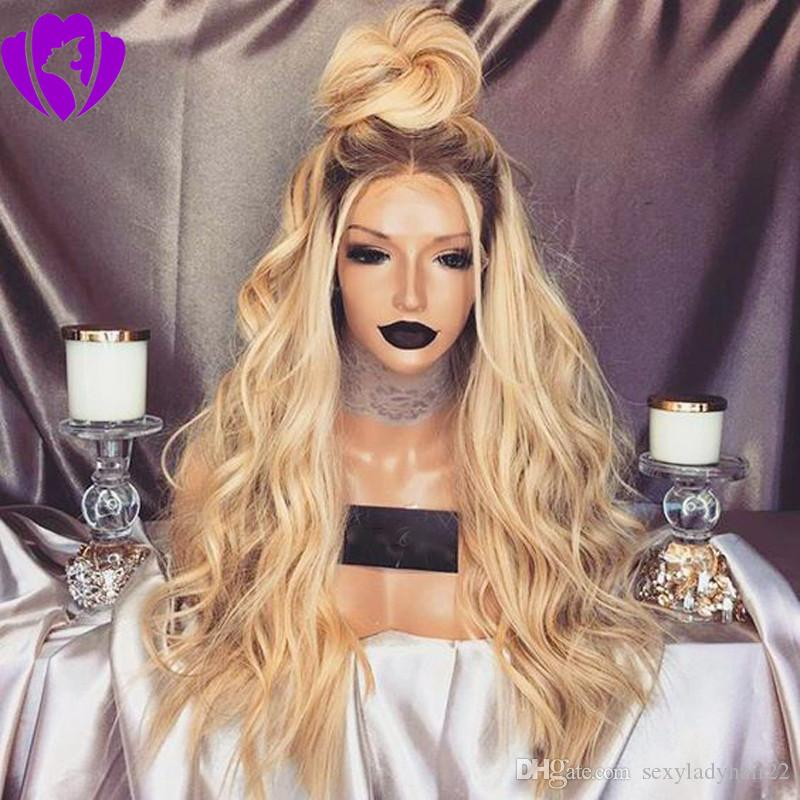 Middle Part 10-30inches long Ombre Blonde Wig With Dark Roots Blonde Lace Front Wig Synthetic Hair Heat Resistant Body Wave For Women