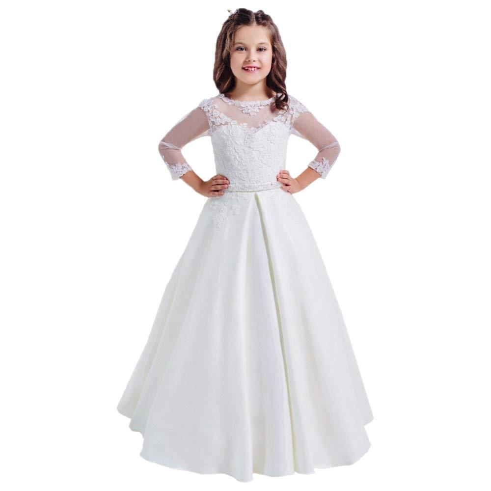 93dc06b03f24 Lace Long Sleeves Hollow Back First Communion Dresses 2 14 Year Old White Flower  Girl Dress Black Dresses For Girls Camo Flower Girl Dresses From Joohua, ...