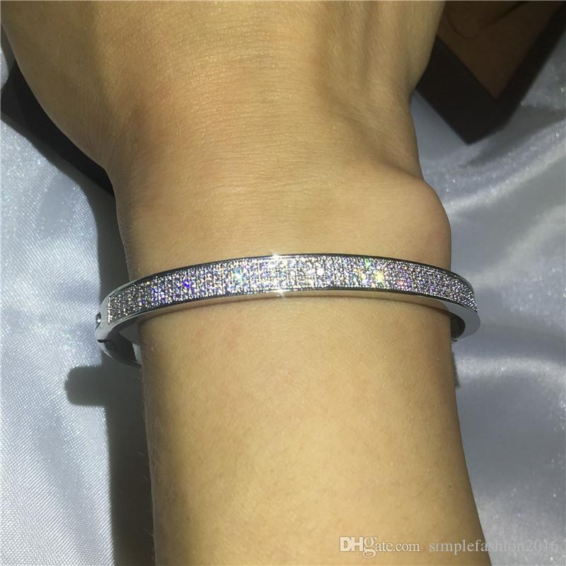 Infinity Bridal bracelet Pave setting Diamond S925 Silver Filled Engagement Bangle for women wedding accessaries Jewelry
