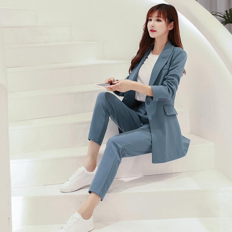b8a7e364c7f8 Compre Elegante 2 Unidades Set Un Botón Chaqueta Chaqueta De Cintura Alta Lápiz  Pantalón De Oficina Damas Mujer Pantalón Traje 2018 Otoño Conjuntos ...