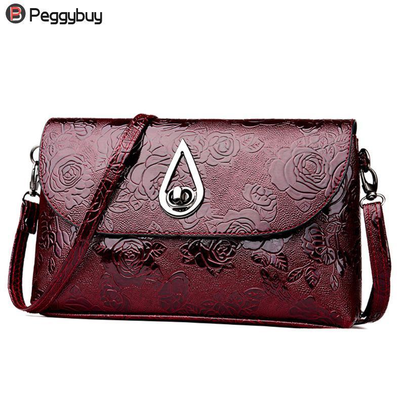 Women Flower Pattern Tote PU Leather Messenger Bag Solid Vintage Luxury Shoulder  Bag Fashionable Lady Clutch Crossbody Handbag Over The Shoulder Bags Hobo  ... 48120f537bcd0