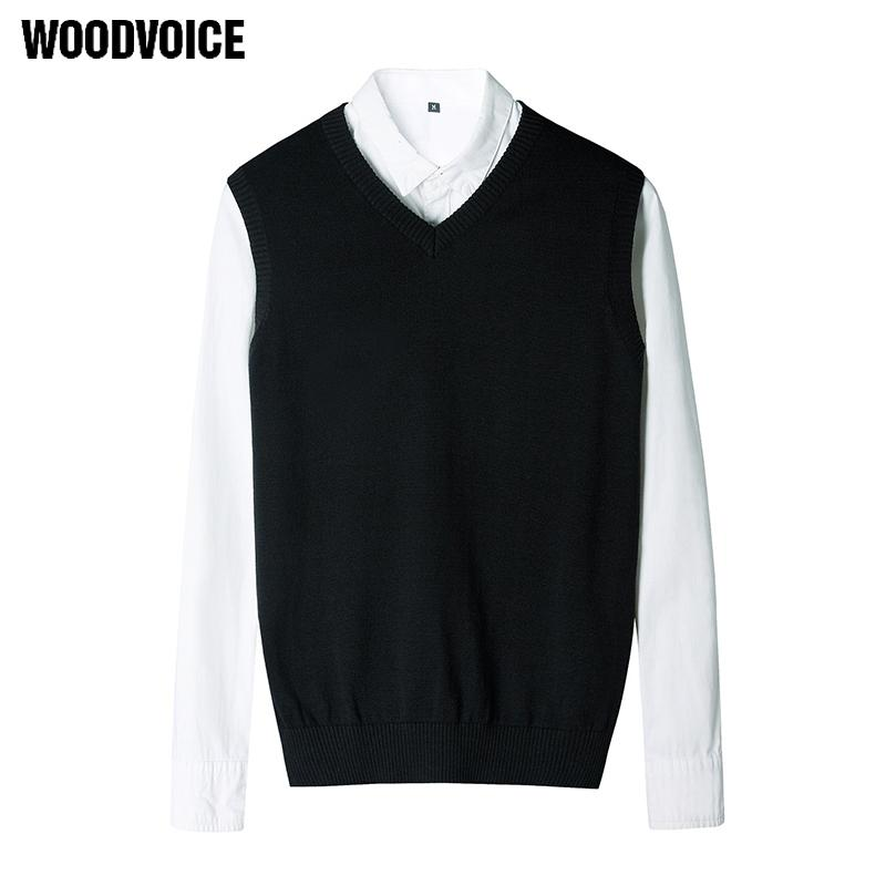 e6ce608991 Woodvoice 2017 Brand Clothing Men's 100% Cotton Basic Vests Sweater Male  Sleeveless Sweaters Solid Color V-Neck Causal Pullover