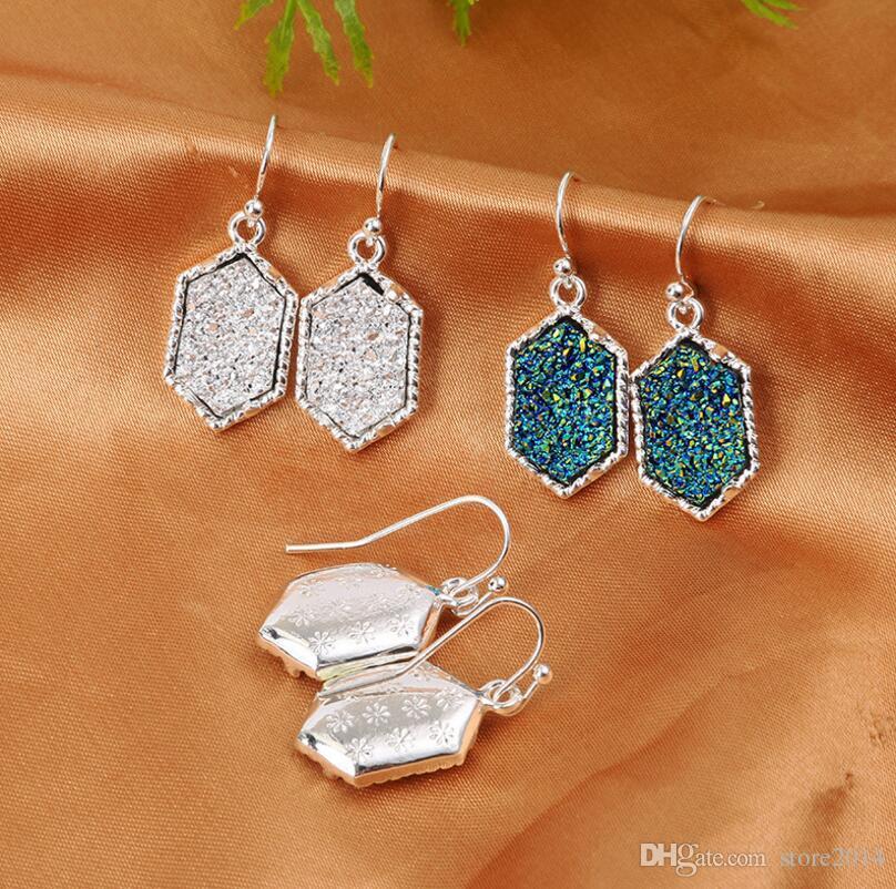 Moda Druzy Drusy Pendientes de plata chapado en oro Populares imitación de piedra turquesa encanto cuelga los aretes para las mujeres joyería de la señora