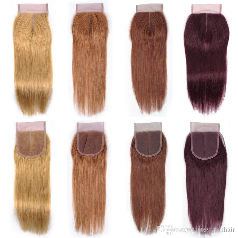 Vendedores de cierre de encaje de cabello de color puro Cabello humano brasileño Cierre de encaje de 4x27 30 33 99J Miel Rubio Medio Auburn Rojo oscuro