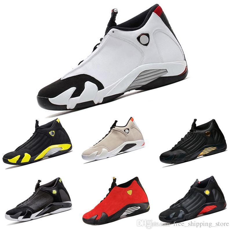 5f6cc6a07ad7 2018 Basketball Shoes 14 14s Mens DMP Yellow Thunder Desert Sand White  Black Toe Grey Mens Sneakers Sport Shoes Size 8 13 Basketball Shoes For  Women Cool ...
