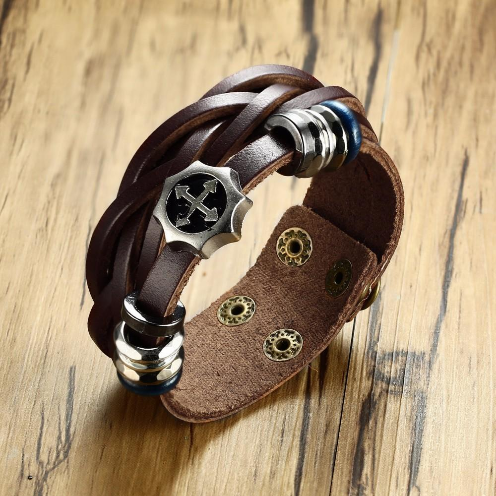 04802b530 2019 Men'S Vintage Style Twist Leather Bracelet For Men Women Hematite  Charm Adjustable Wrap Wristband Brackelts Brown Male Jewelry From Beijiaer,  ...