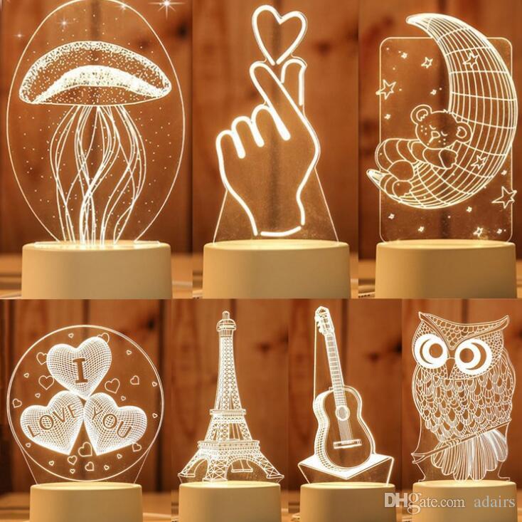 Bébé Led 3d Cadeau Lune Lampe Saint Cerf Creative Valentin Lumière Styles Enfants Tour Anniversaire Chambre Table Méduse 10 Nuit 3q5LARj4