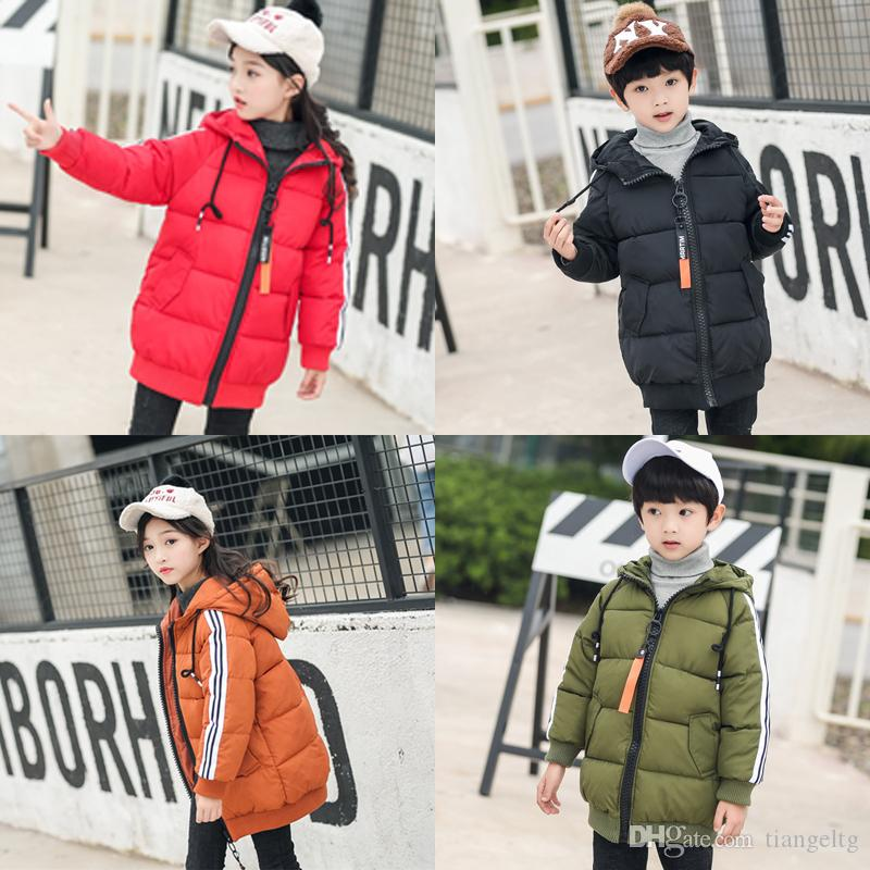 1cd8439c38a8 Hooded Long Down Coats Kids Polyester Winter Thickening Bread ...