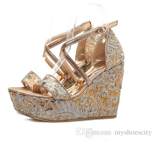 78100ce10013 Fashion embroidery cross strap high platform wedge sandals women shoes  black gold 2018 size 34 to 39