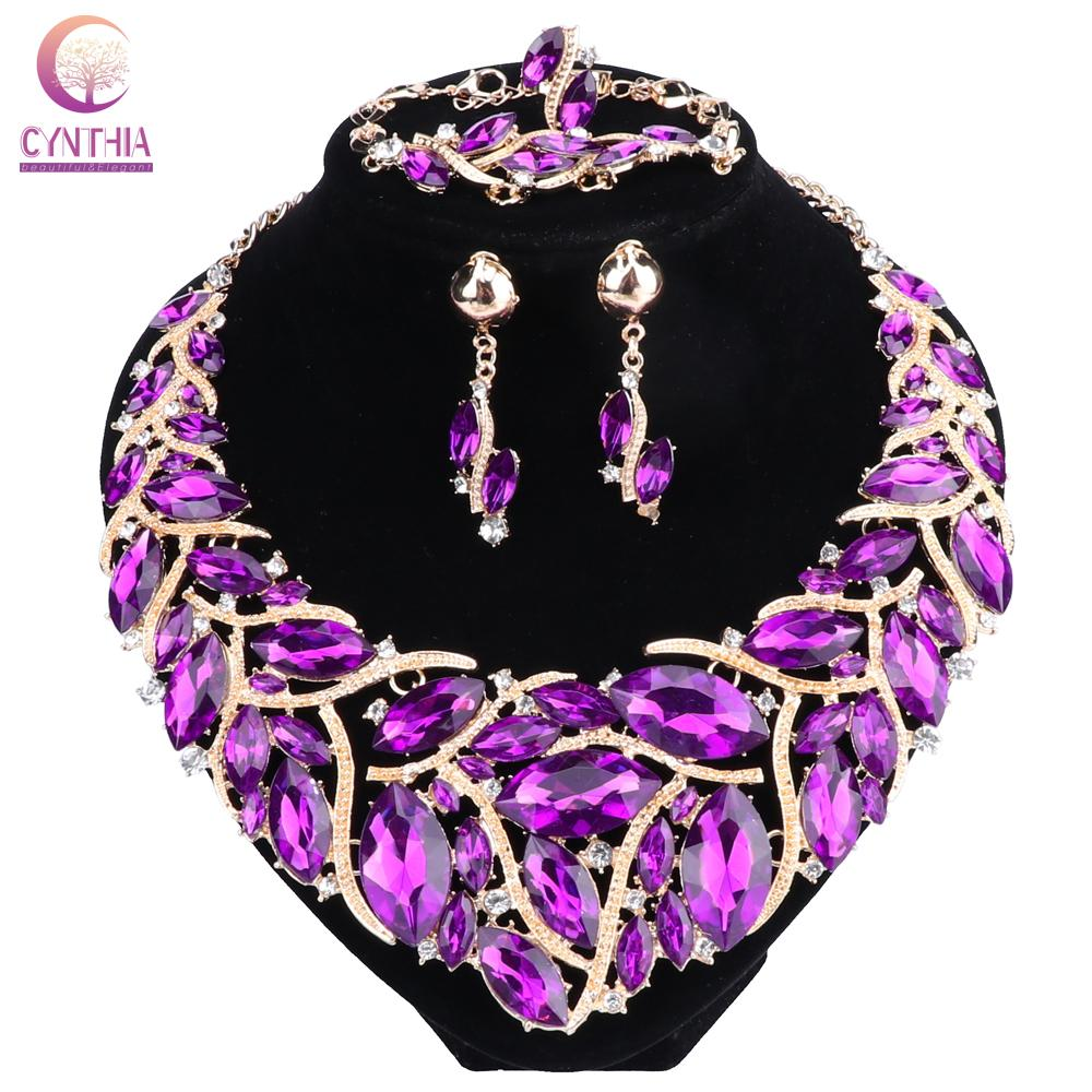 f4bf9ce0f17bd2 2019 New Fashion Purple Rhinestones Crystal Statement Necklace Bridal  Jewelry Sets Decoration Necklaces Jewellery Gifts For Women From Duoyun, ...