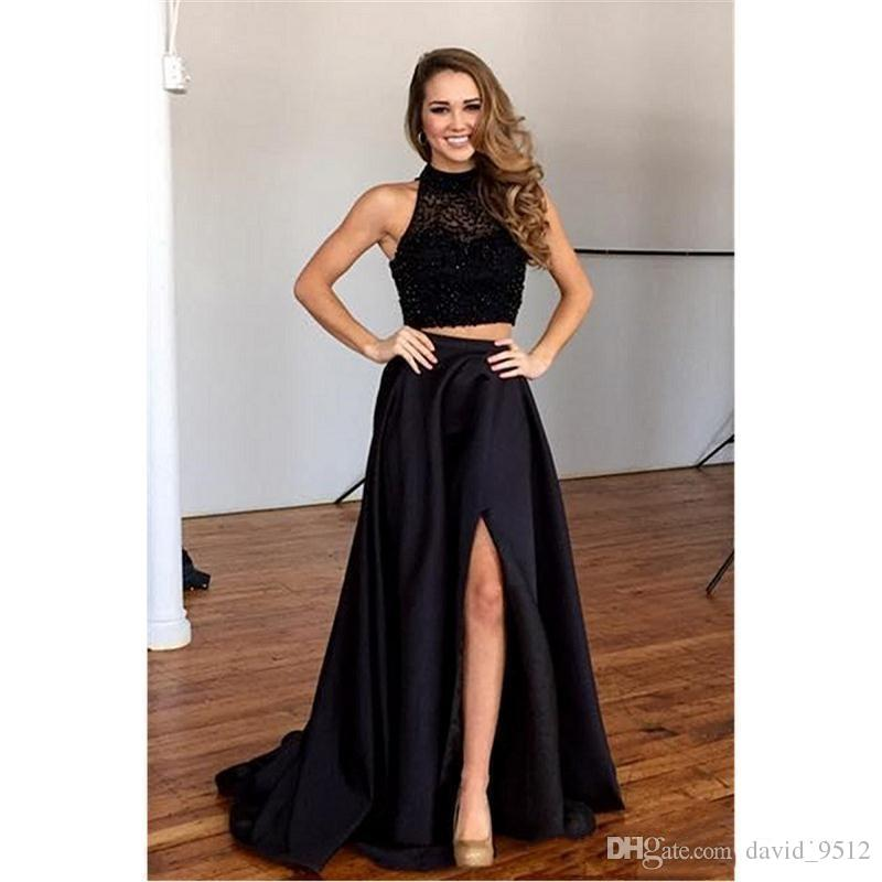 e0dae0de9b60 Black Two Pieces Prom Dresses Satin Beaded Elegant Evening Dresses Front  Split Long Beading Formal Evening Party Dresses Lace Sleeveless.