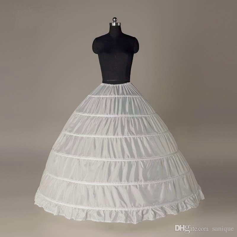 Super Cheap Ball Gown 6 Hoops Petticoat Wedding Slip Crinoline Bridal Underskirt Layes Slip 6 Hoop Skirt Crinoline For Quinceanera Dress