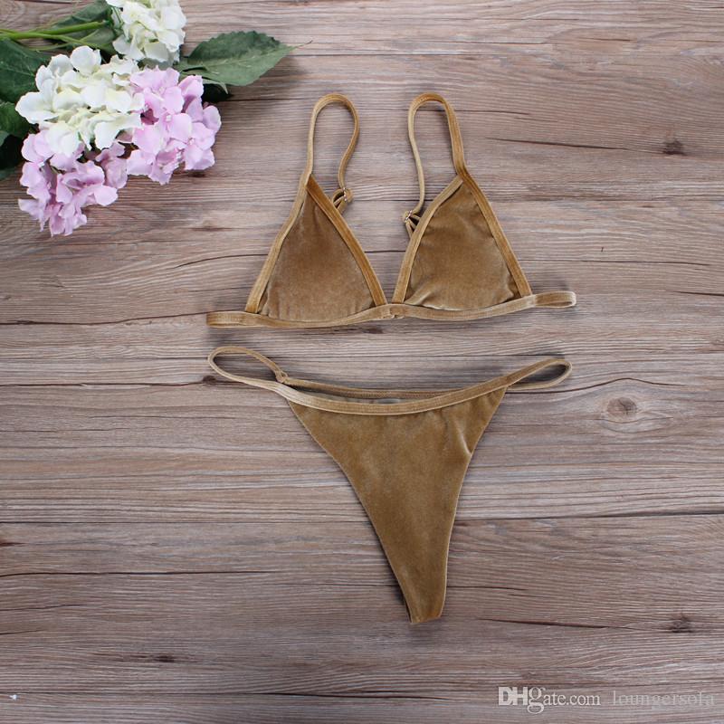 Women Sexy Two Piece Suits Dark Green Orange Gold Velvet Bikinis Lady Swimwear Swimsuit Beach Wear Bathing Suit 23cs W