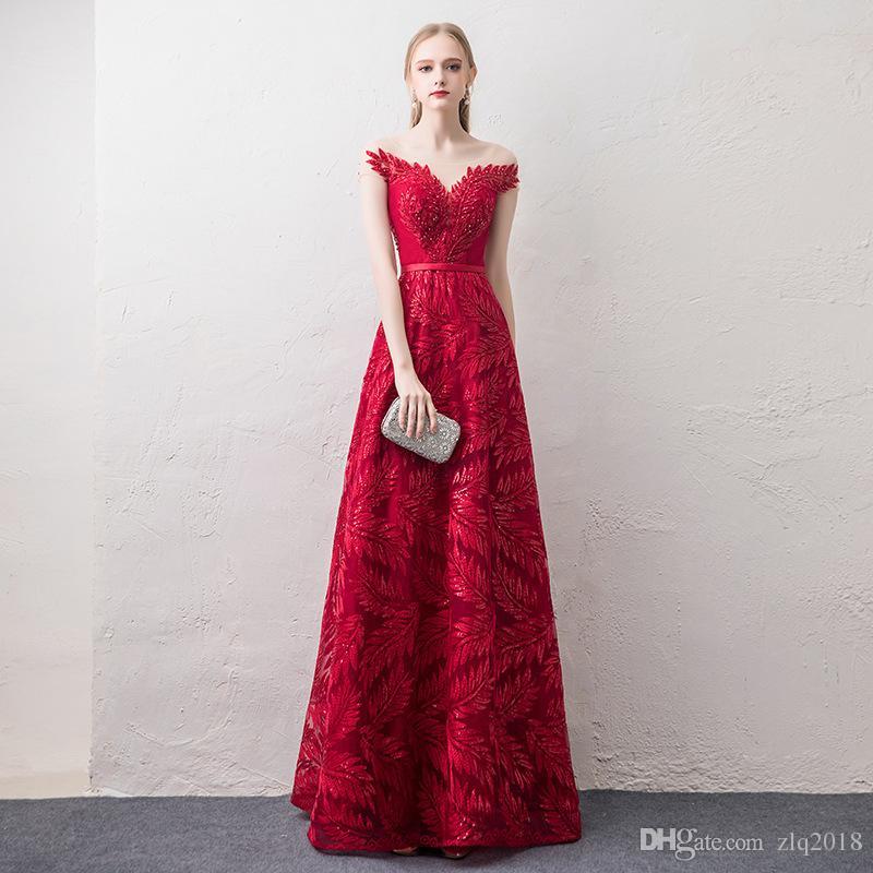 43c367050 Compre 2018 Sheer Scoop Mangas Cortas Vestidos De Noche Rojos Una Línea  Apliques De Encaje Largos Con Cuentas Vestidos De Fiesta Baratos Vestidos A   55.28 ...
