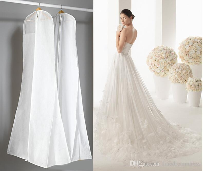 Robe classique 180cm robe de mariage Sacs de haute qualité poussière blanche Housse longue Habits Voyage de stockage Housses
