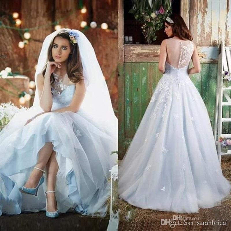 Blue Sheer Wedding Dress