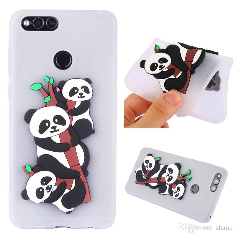 reputable site b33ba 81055 for huawei honor 7x enjoy 7 plus y72017 case 3d 3 cute carton pandas  goophone phone case silicone soft tpu full cover caus