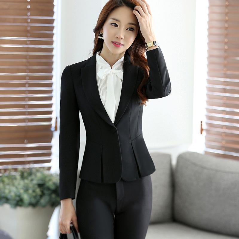 Compre 2018 Otoño   Invierno Chaqueta S Talla Grande Gris Simple Mujer  Blazer Tops Coreano Estilo Ol Abrigo Con Un Solo Botón Chaqueta Mujer A   61.03 Del ... 2c7381f5a011