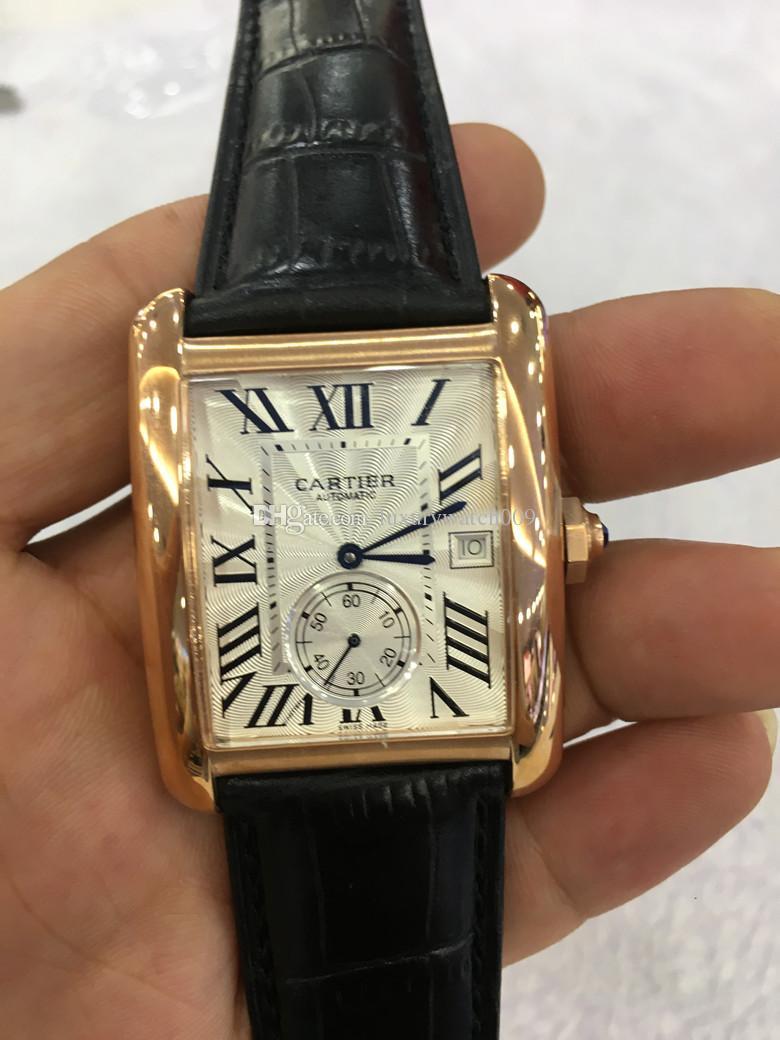 Compre Relógio De Marca Famosa Para Homens Face Branca Pulseira De Couro  Marrom Relógio De Ouro Quadrado Automático Ver Através Do Relógio Dos Homens  ... 0815a32e3d