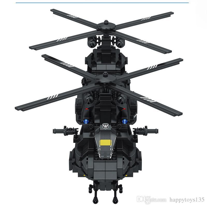 Blocos de construção de swat team building blocks transporte chinook comparativo com alta marca helicóptero meninos tijolos brinquedos