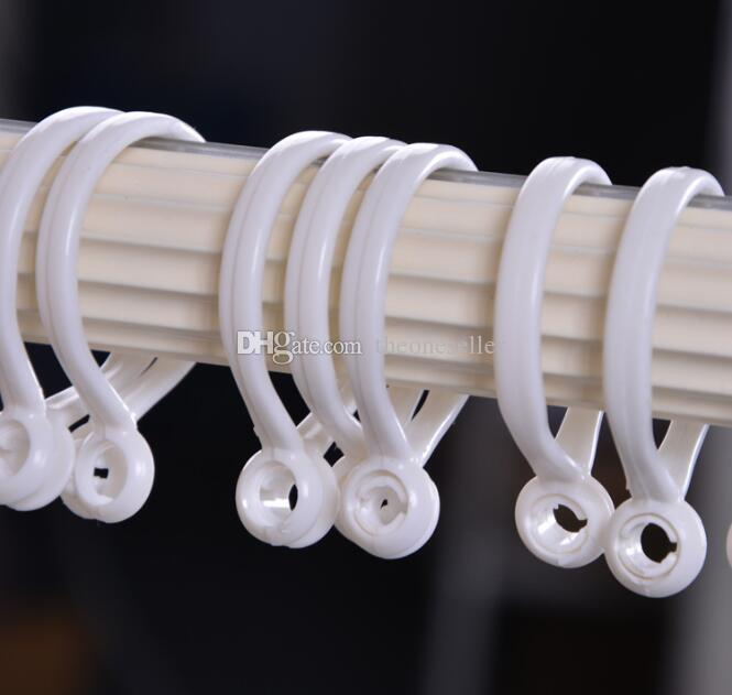 New Curtain Poles Shower Rod Hook Hanger White Color Plastic Ring Bath Drape Loop Clasp Drapery Home Use Clips ZA0773
