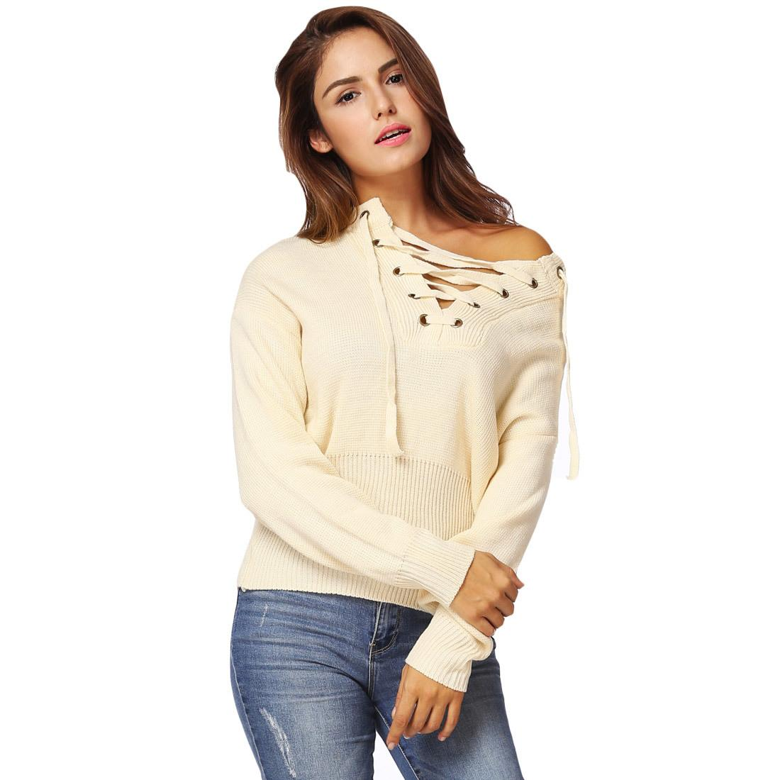 85398ffef71 2019 2017 Winter Women Lace Up Knitted Sweater V Neck Long Sleeve Womens  Clothing Ribbed Cuffs Hem Warm Pullover Autumn Warm Knitwear From  Qinfeng07