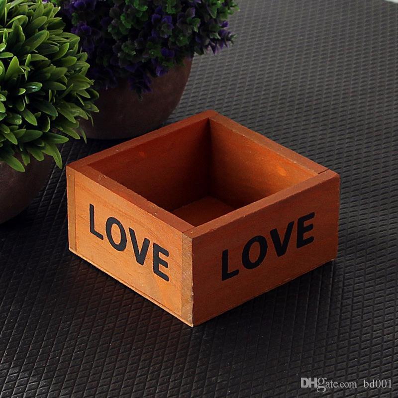 LOVE Letter Wooden Storage Boxes Retro Flower Pots Succulent Plant Box Pure  Color Square Mini Jewelry Pot 3 2hx ff