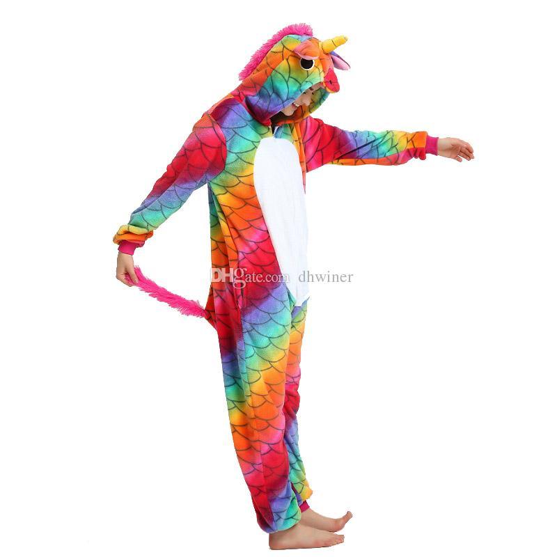 2bc780d6b3 Unisex Meerjungfrau Einhorn Pyjama für Erwachsene Tier Cosplay Einhorn  Kostüme