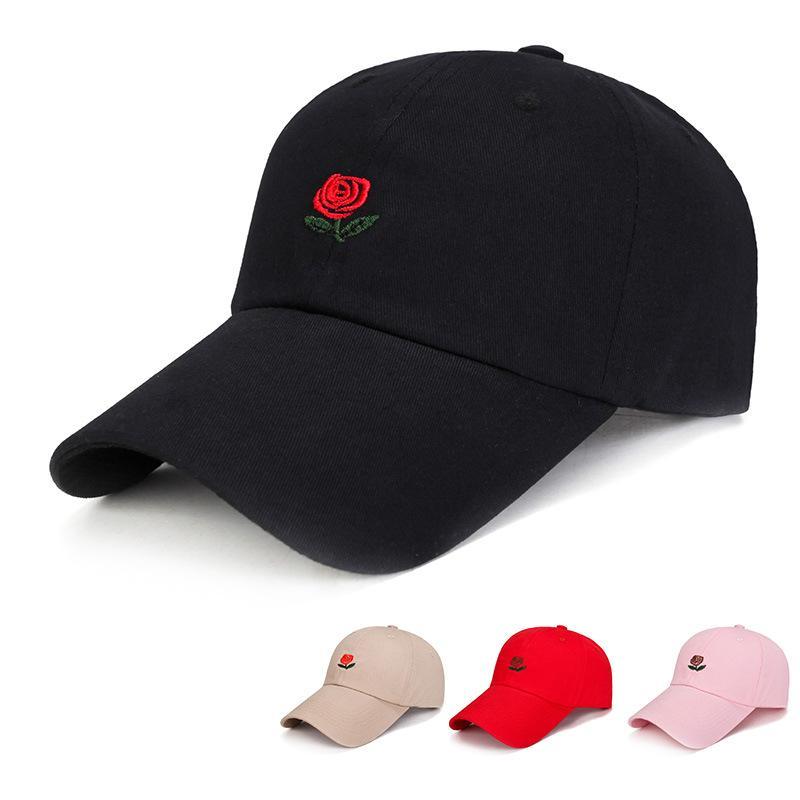 Embroidery Rose Baseball Cap Korean Fashion Women Men Hip Hop Caps  Adjustable Snapback Casquette Black White Pink Sun Hats Sport Baseball Caps  Cheap ... 3cfec3910a04