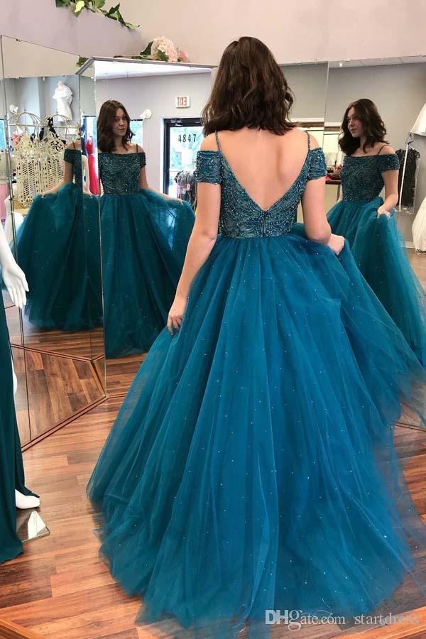 Vintage Teal Blue Ball Gown 2018 Prom Dress Spaghetti Tulle Beaded Puffy Long Evening Gowns Sexy Backless Elegant Plus Size Formal Party