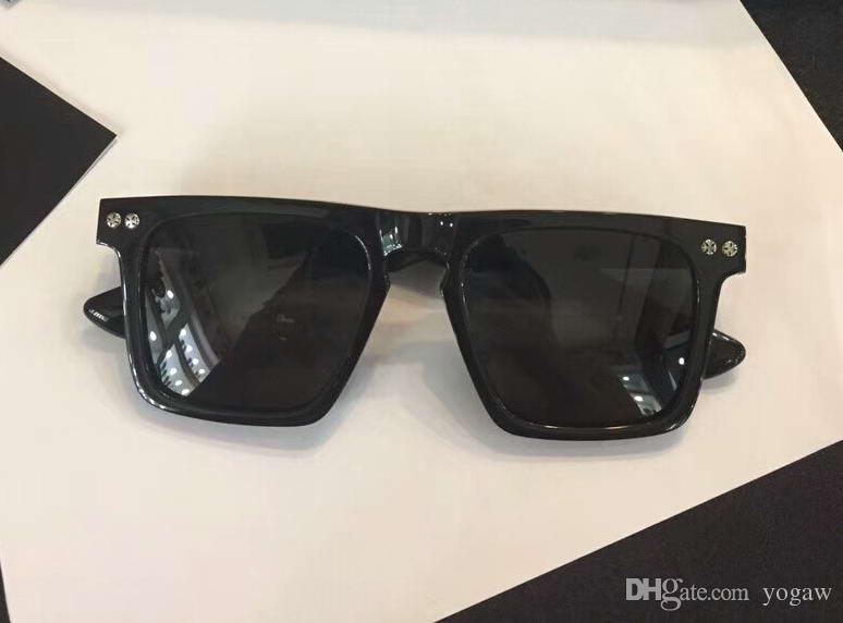 cebaa5357556 Cool Mens Chrome Square Black Sunglasses Dark Grey Lenses 51mm Designer Sunglass  Glasses Eyewear With Box Case Vintage Sunglasses Super Sunglasses From ...