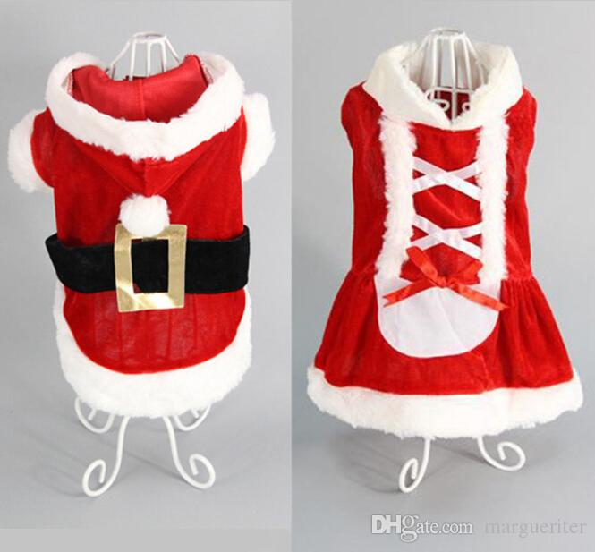 Christmas Dog Clothes Santa Dog Costume Pet Coat Comfortable Cotton Clothing For Dog XXS to L Size