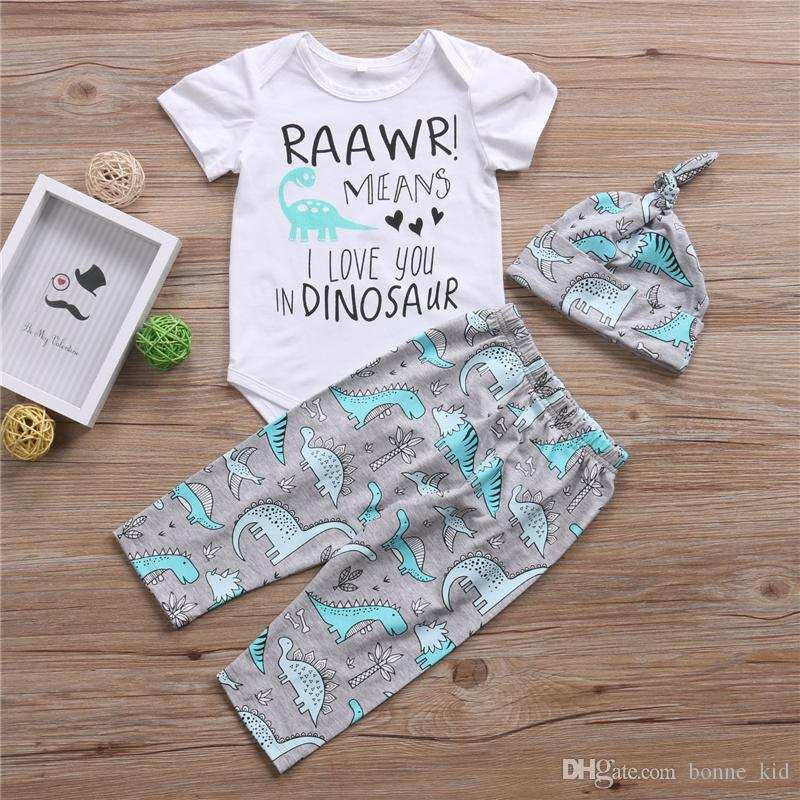 039190f05 2019 Cute Newborn Baby Boy Dinosaur Romper Top Long Pants Leggings Hat  Outfit Toddler Boys Clothes Kid Clothing Set From Bonne_kid, $12.4 |  DHgate.Com