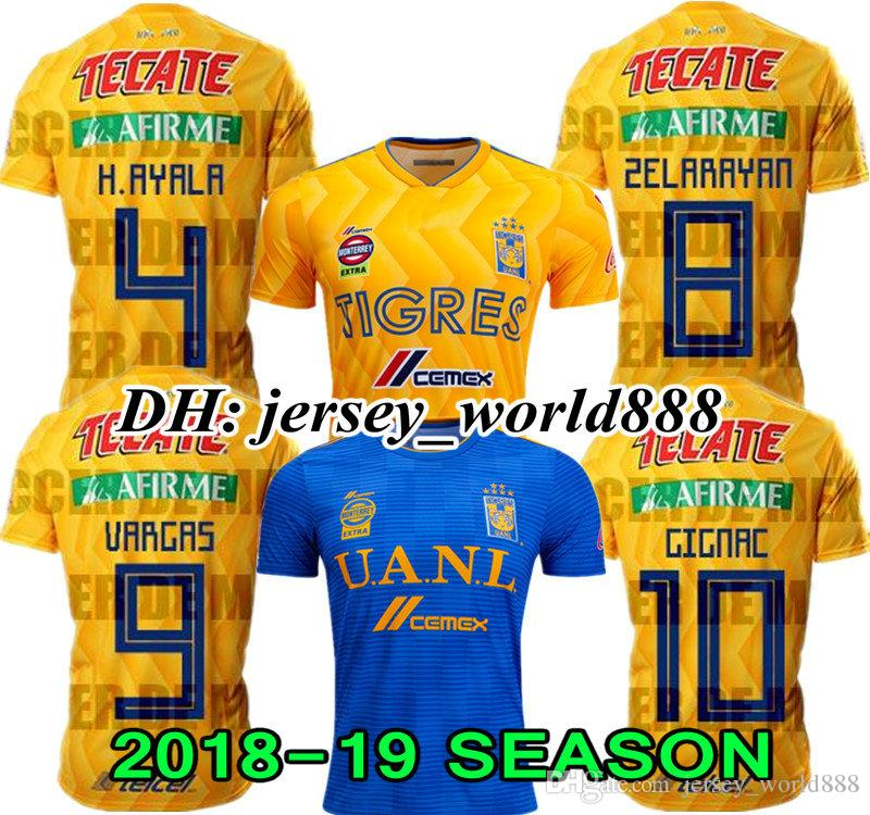 afca5d6916 GIGNAC 18 19 Mexico Club Tigres UANL Yellow Home 3RD Soccer Jersey 6 Stars  Vargas H. Ayala SOSA 2018 2019 Away Blue Football Shirt WOMAN Jerseys  Soccer ...