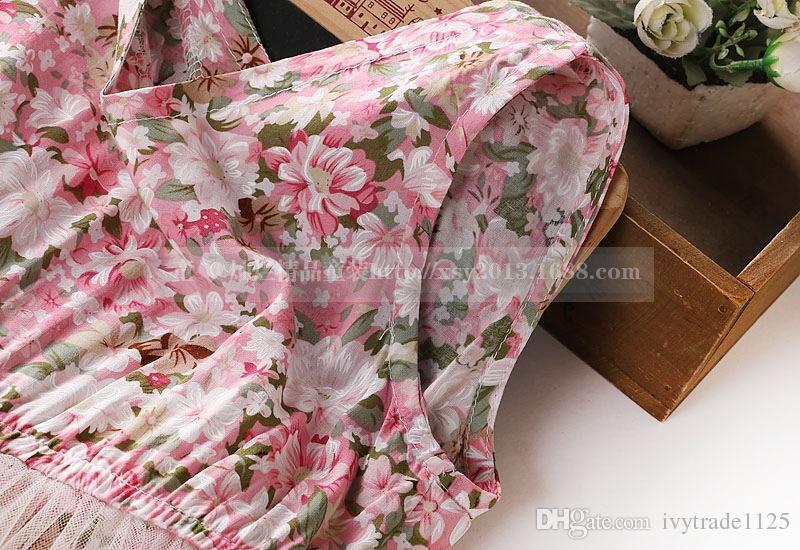 2018 Korean style new arrivals girls round neck sleeveless full flowers print mesh patchwork dress girl's summer Dresses free ship