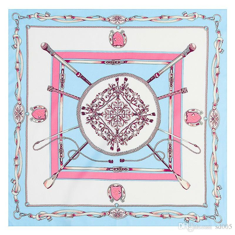 Imitated Silk Fabric Scarf Practical Twill Classy Chains Scarves Jacquard Weave Soft Square Handkerchief For Women 7 52mt B